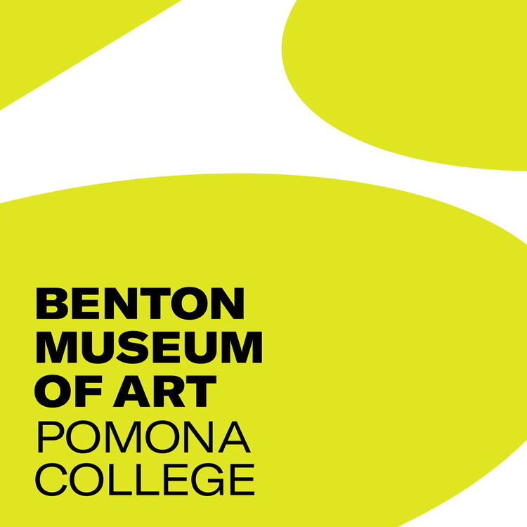 Cover of the Benton Museum annual report with citron colored graphic logo against white backdrop