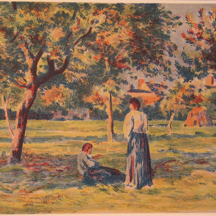 Two figures one sitting and other standing outdoors amongst trees