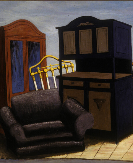 Still life of furniture with dressers headboard and chair