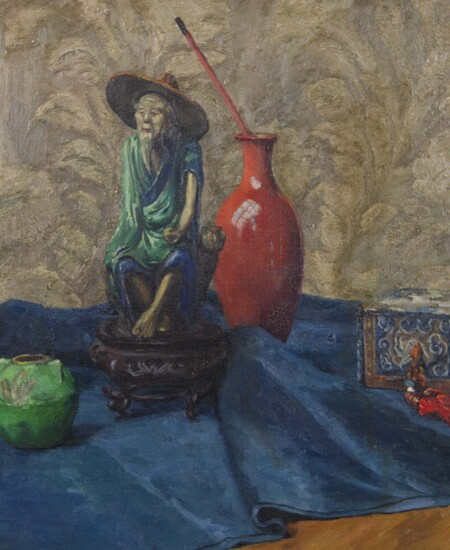Still life painting showing a person the same size as a giant vase on blue fabric