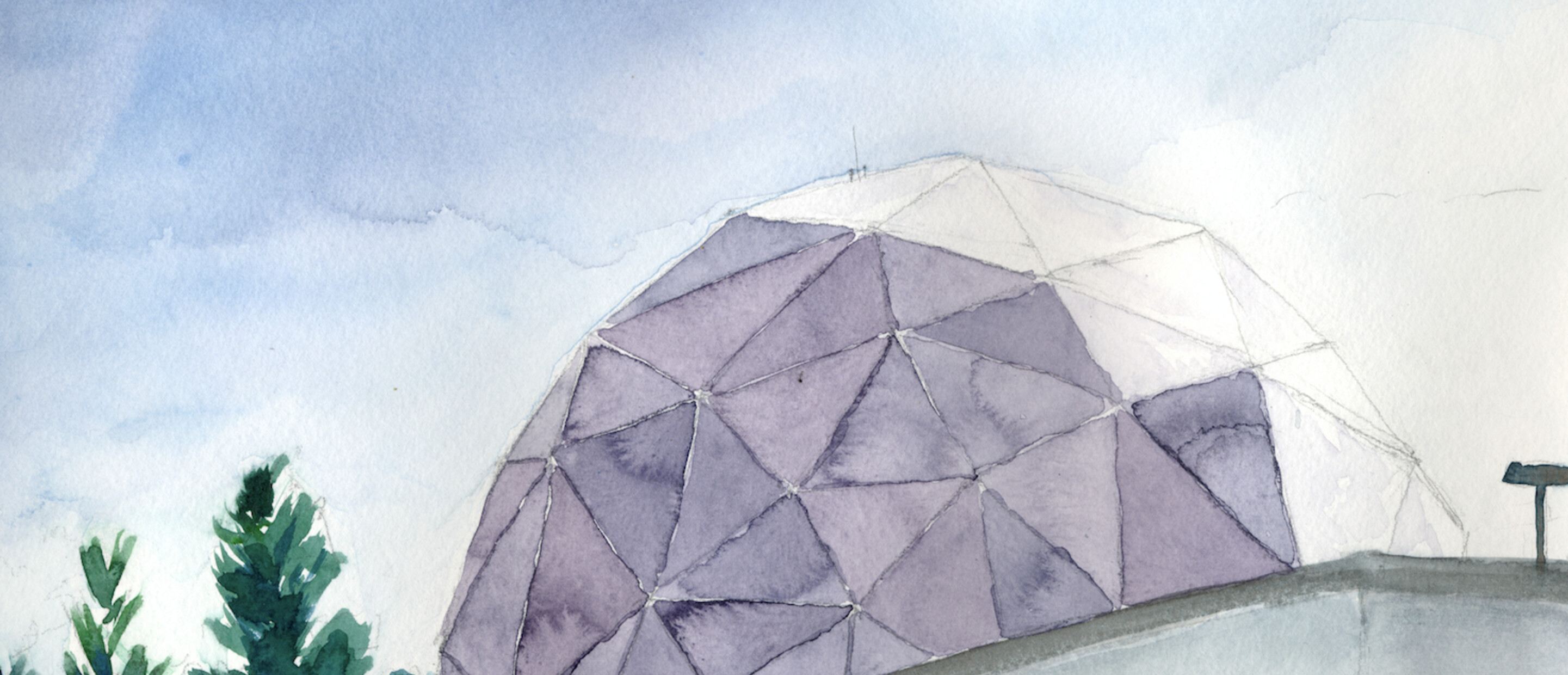 watercolor painting of dome under blue sky