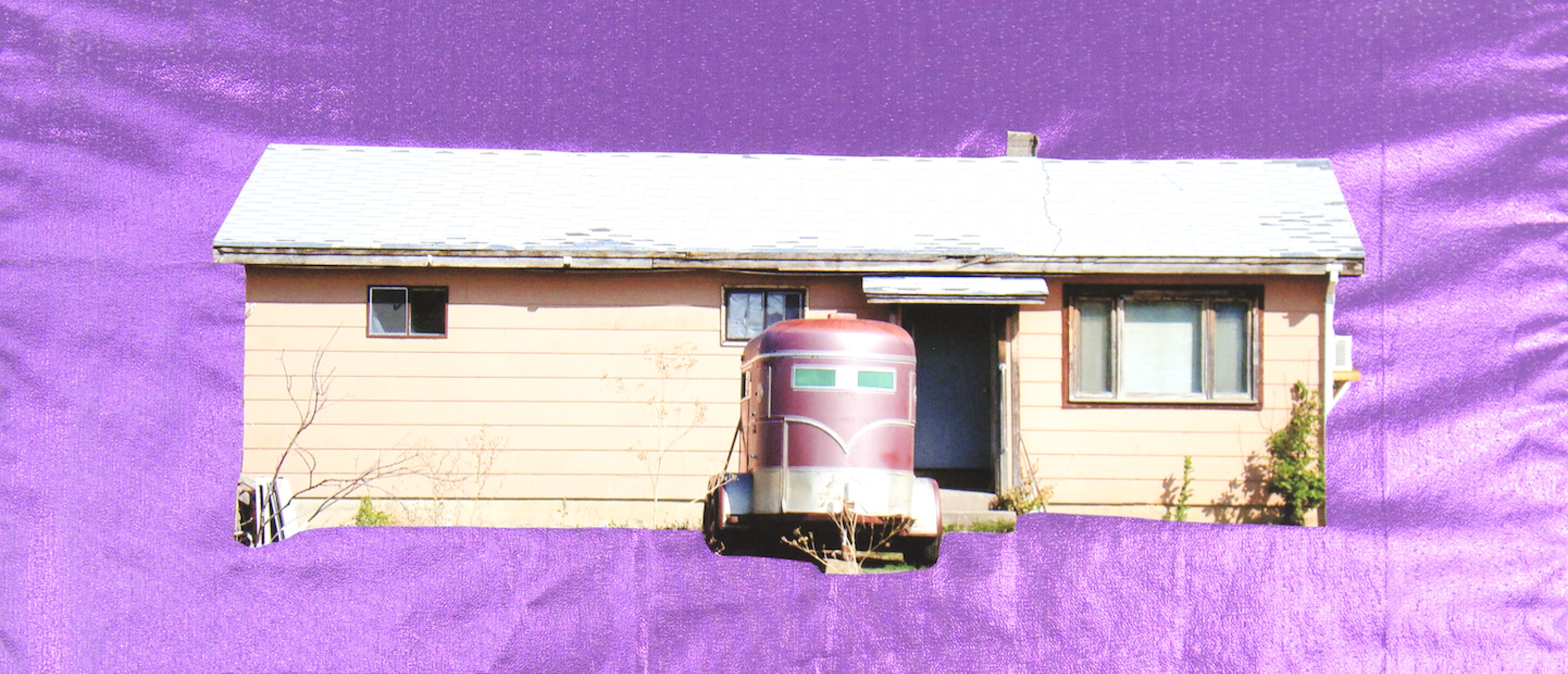 house and trailer photo collaged on top of silky purple background