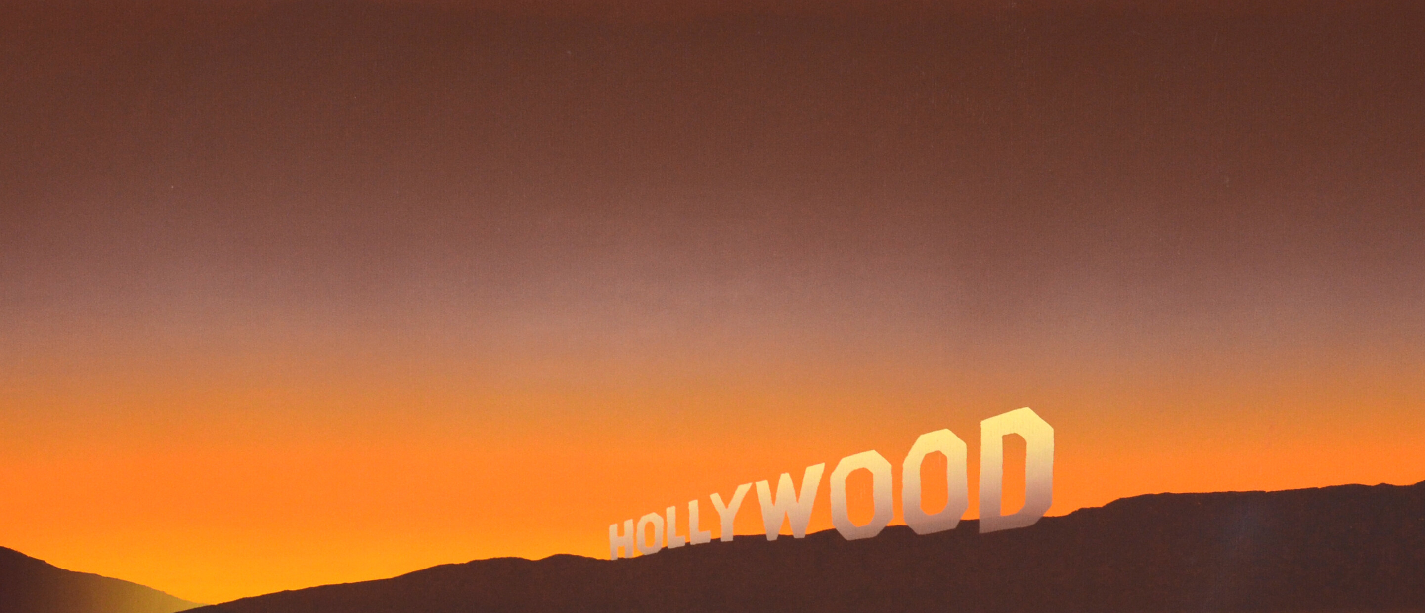 Orange tinged sky behind HOLLYWOOD sign landscape painting