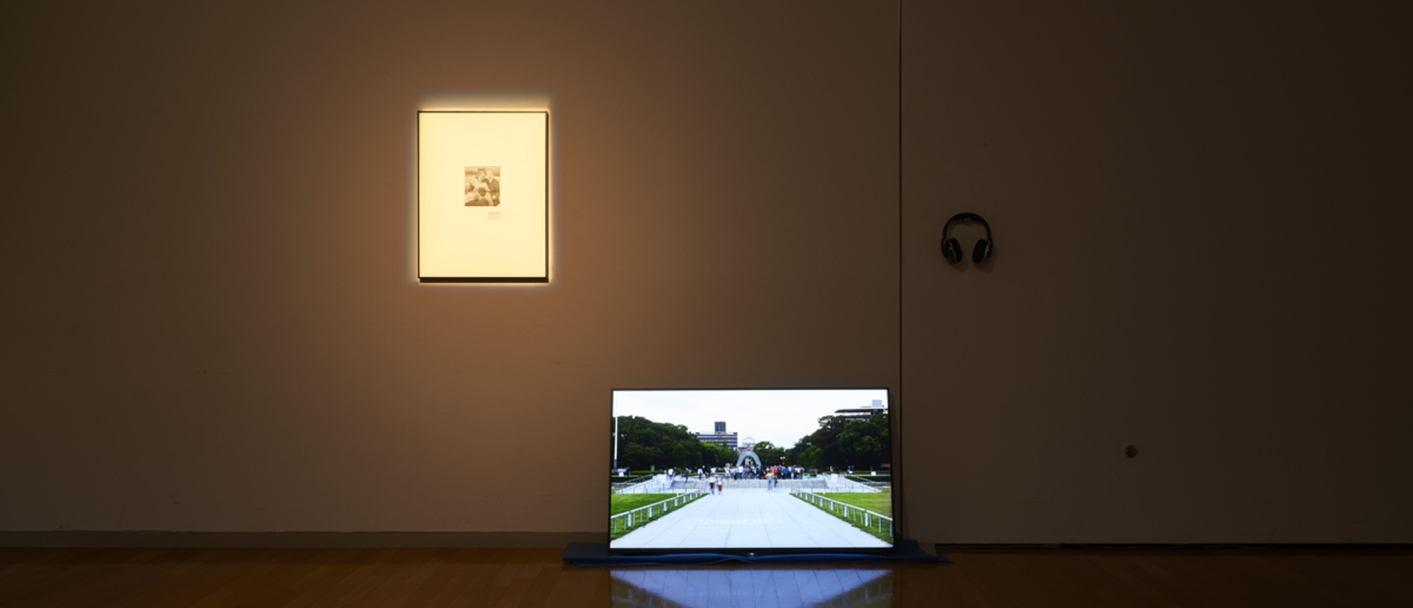 Photograph of installation with a television and framed photograph