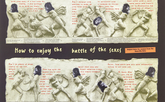 Guerrilla Girls, Battle Of The Sexes, project for the New Yorker, 1996, 12 x 18 in. Pomona College Collection. Museum purchase with funds provided by the Estate of Walter and Elise Mosher.