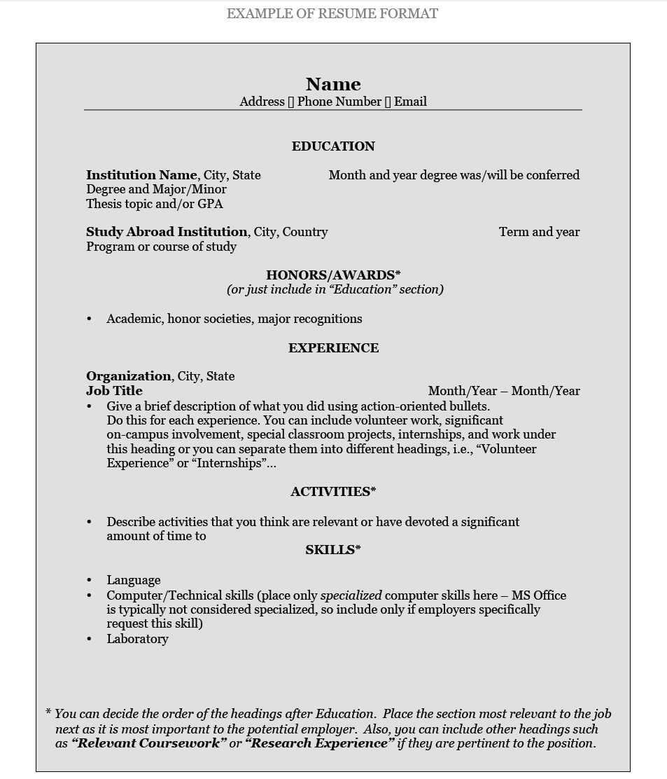 Resume Font Classy How To Write A Resume Pomona College In Claremont California
