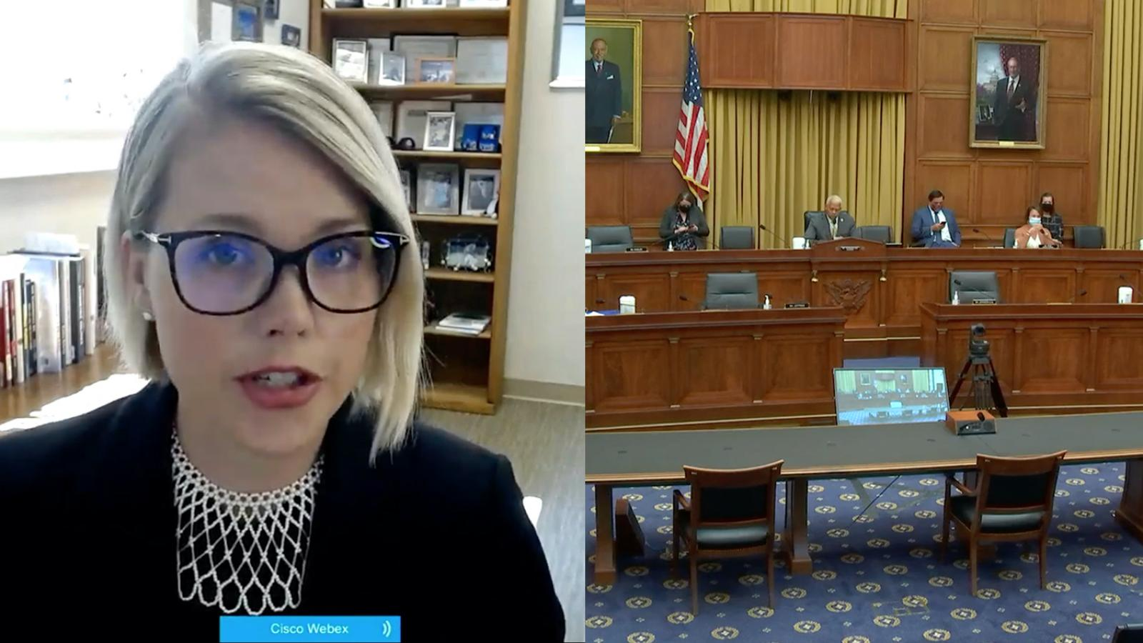 Amanda Hollis-Brusky shown testifying before Congress from her office with split screen of hearing room