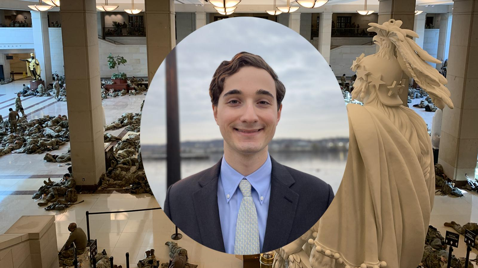 Combined image of Marc Rod headshot superimposed on his photo of troops in Capitol.