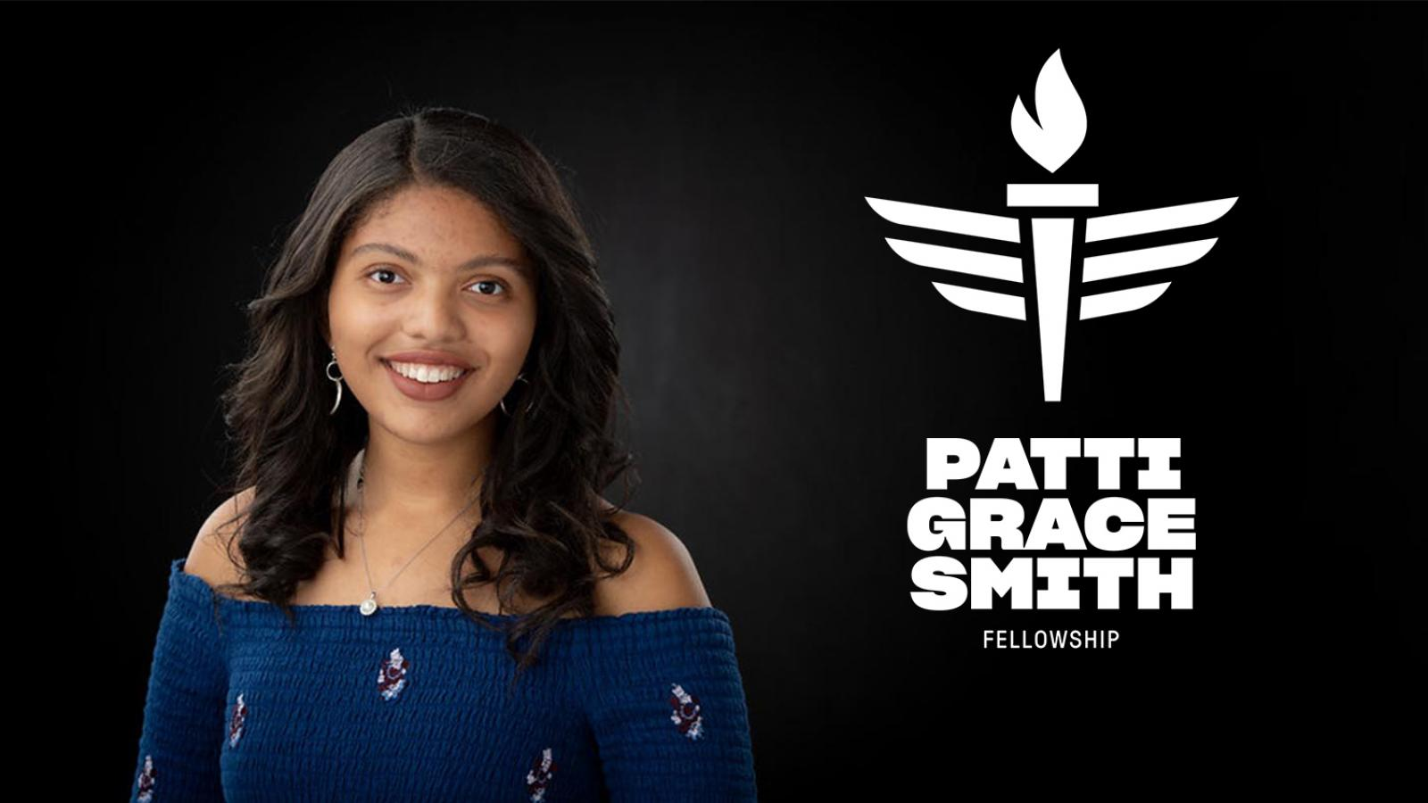 Anaelle Roc headshot with logo and text that reads Patti Grace Smith Fellowship