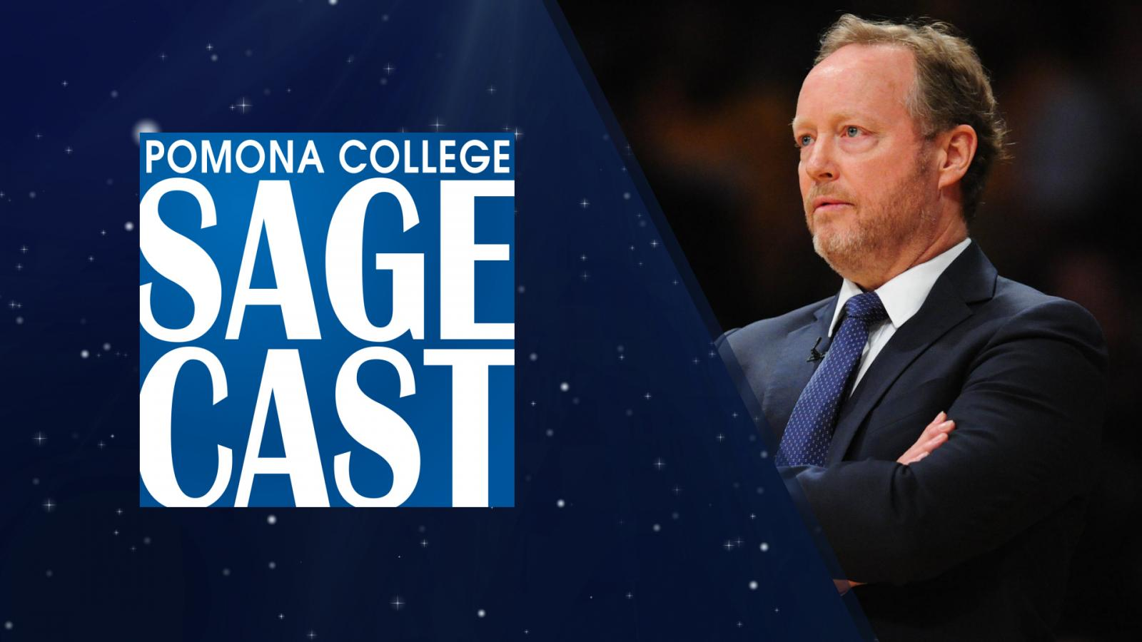 sagecast logo and a picture of Mike Budenholzer