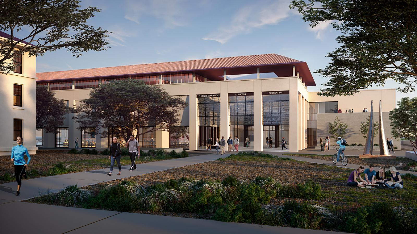 rendering of exterior of planned athletics and recreation center