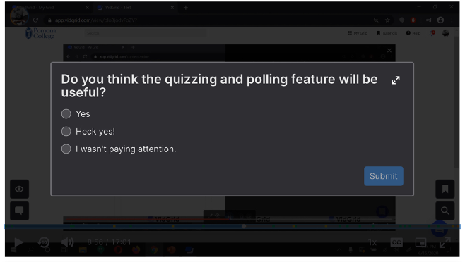 Example of quizzing and polling feature as seen by a viewer.