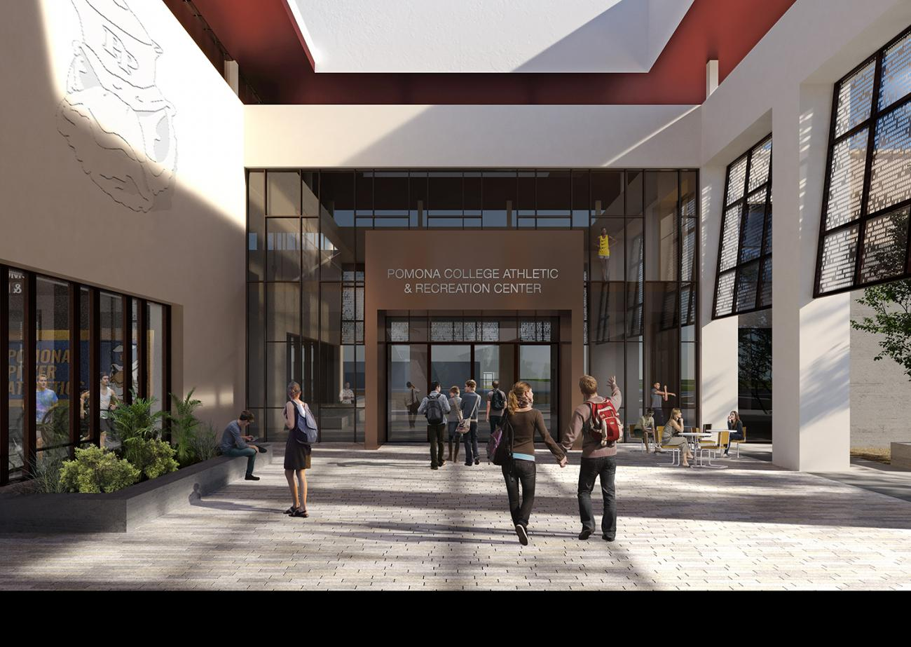 rendering of entrance to planned athletic center