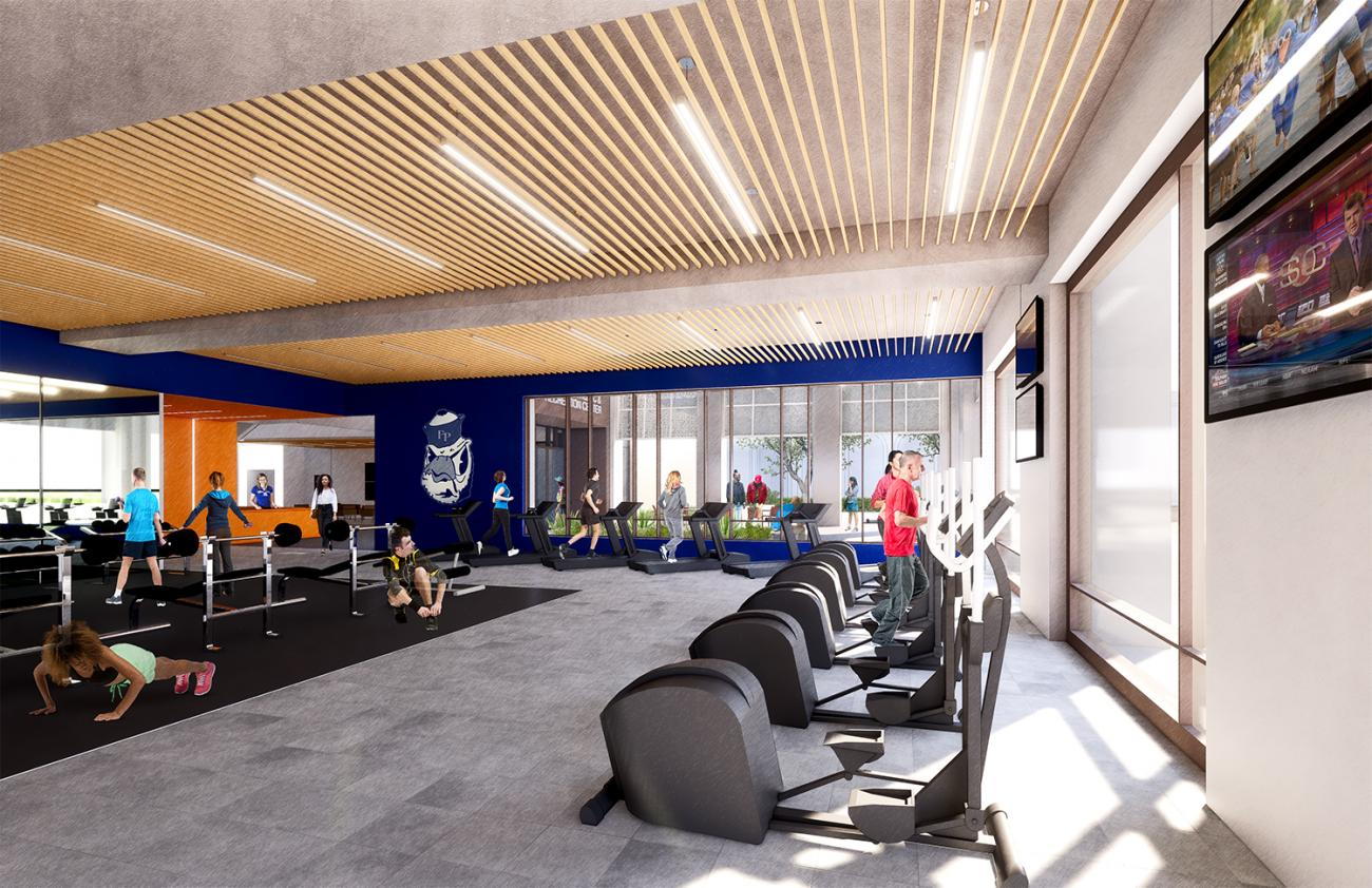 rendering of fitness center of planned athletics building