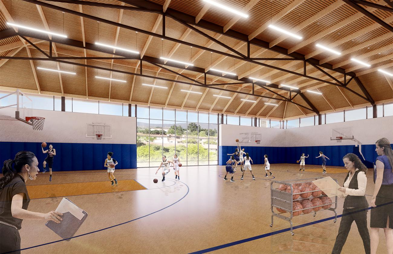 Basketball court featuring glass wall with views to outdoors