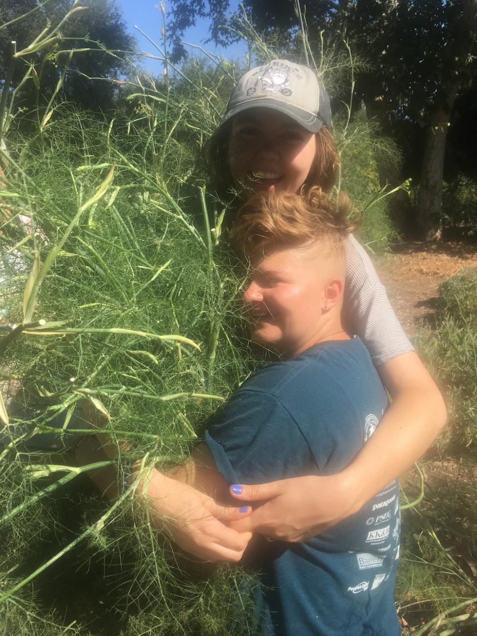 Two students hug a bundle of fennel cuttings