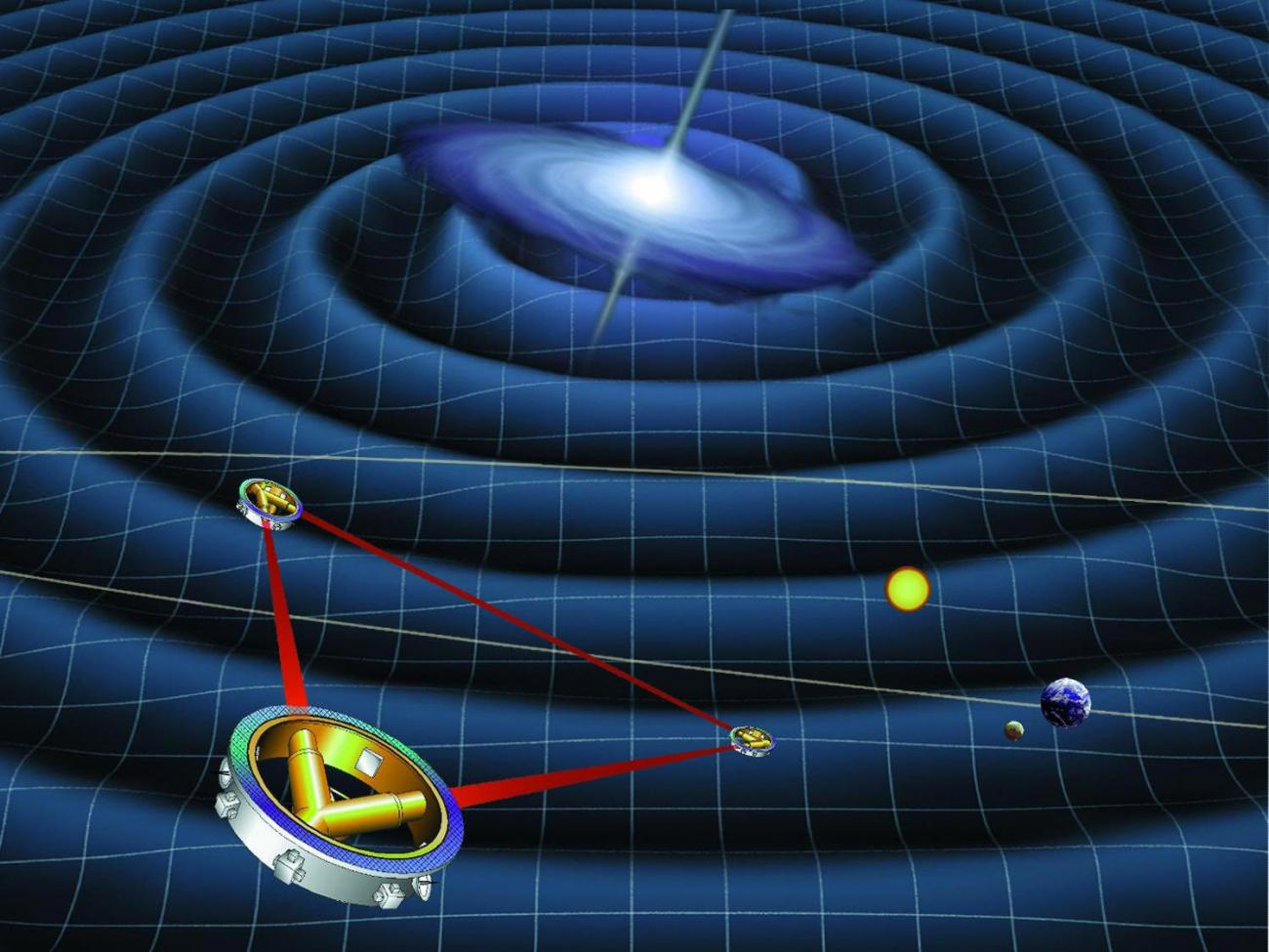 An artists impression of the propagation of gravitational waves through space