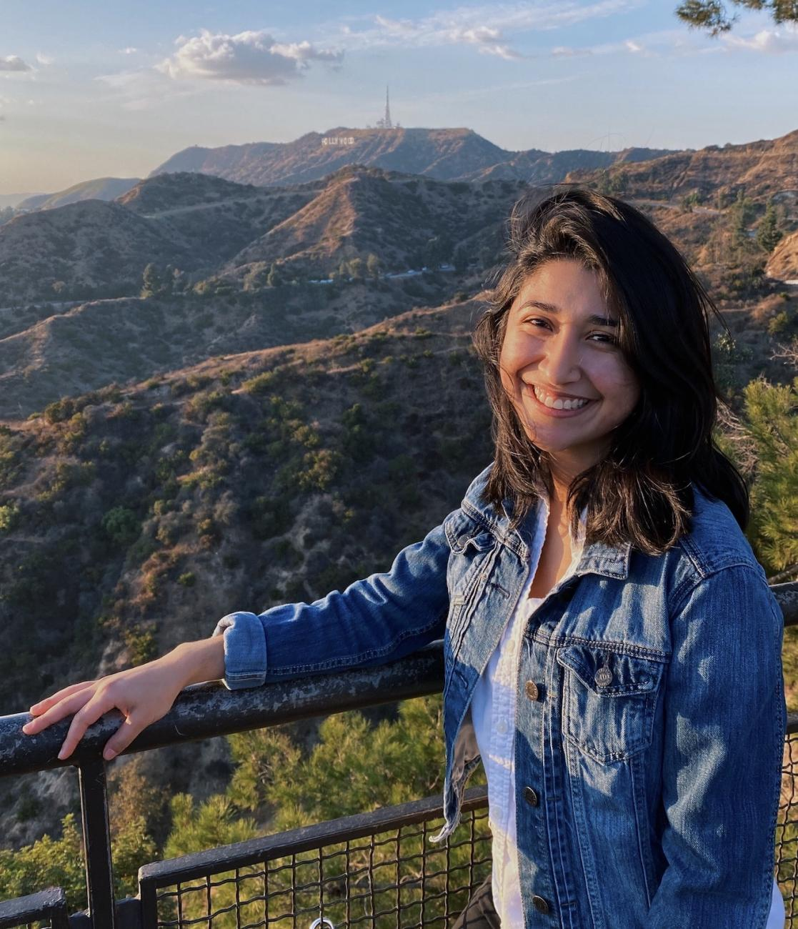 Selena Lopez before Los Angeles landscape