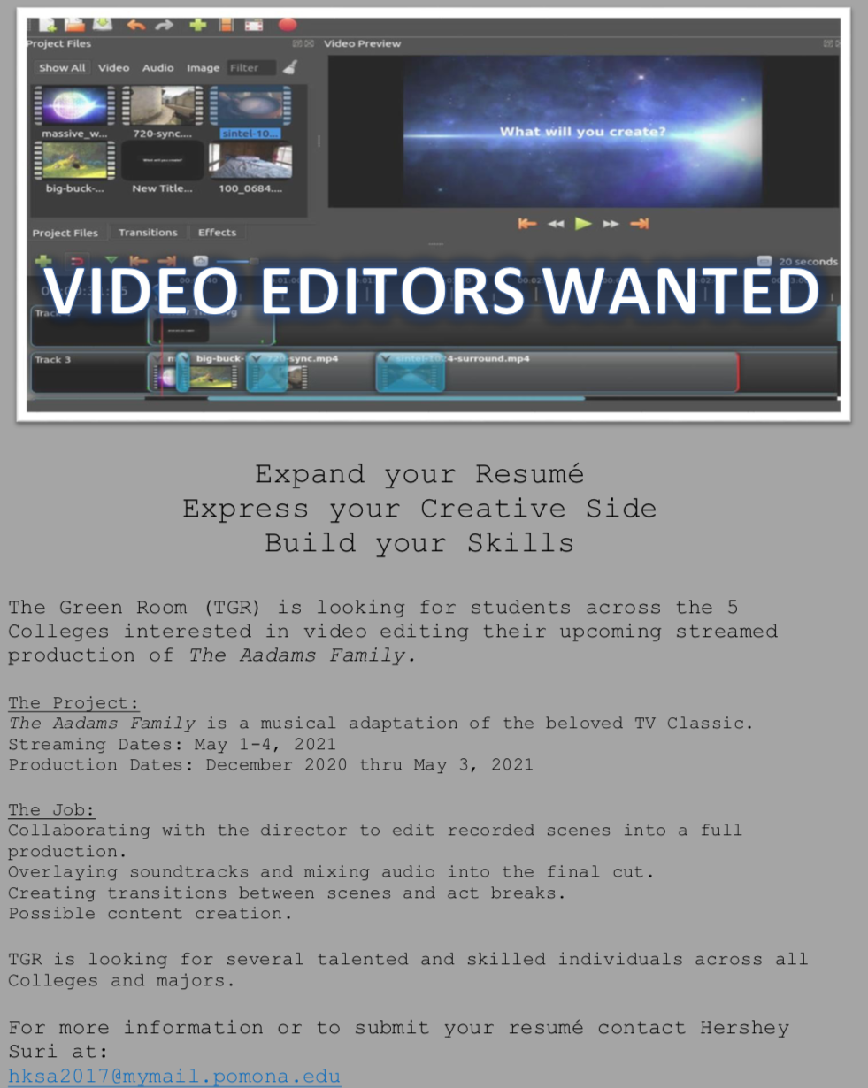 The Green Room Request for Video Editors