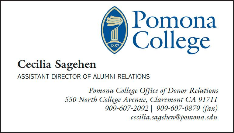 Pomona College Business Card example