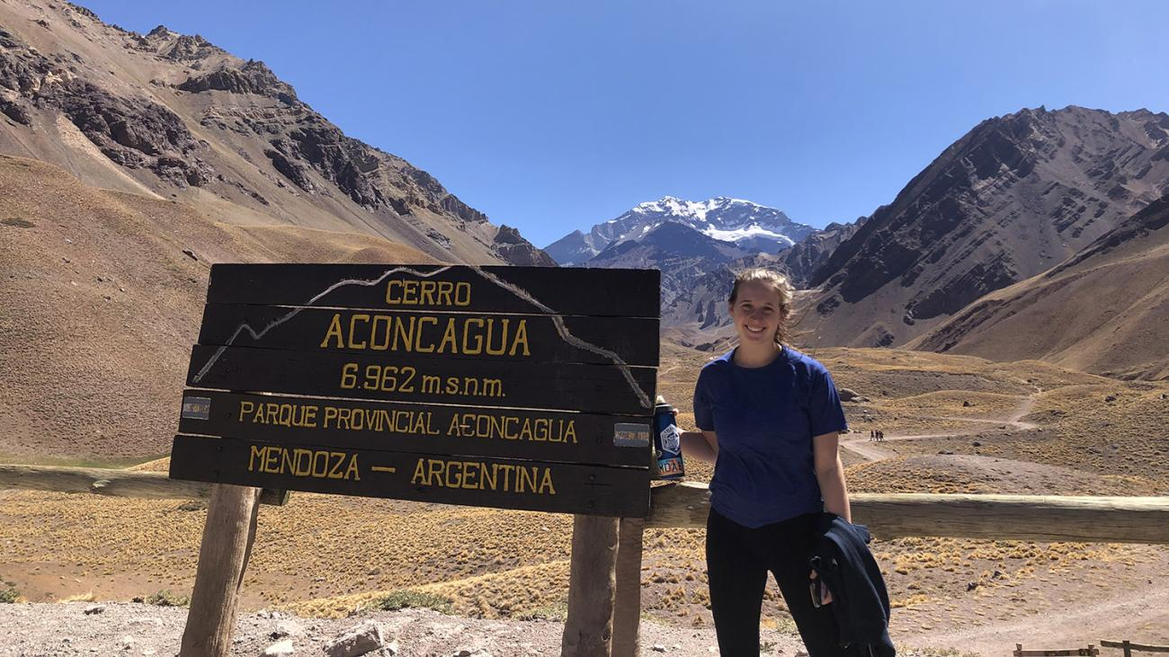 Calder Hollond '21 at the Parque Aconcagua in Mendoza, Argentina.