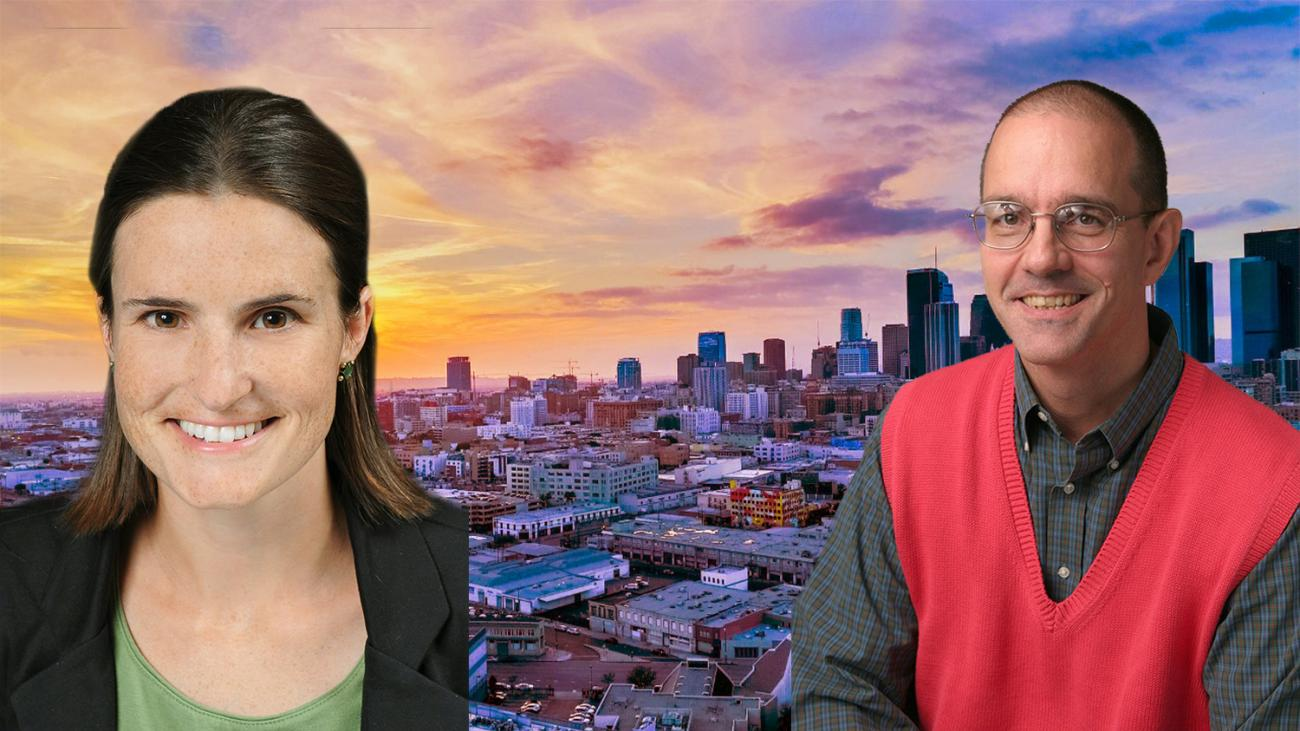 Headshots of Professors Heidi Nichols Haddad and Stephen Marks superimposed on L.A. skyline
