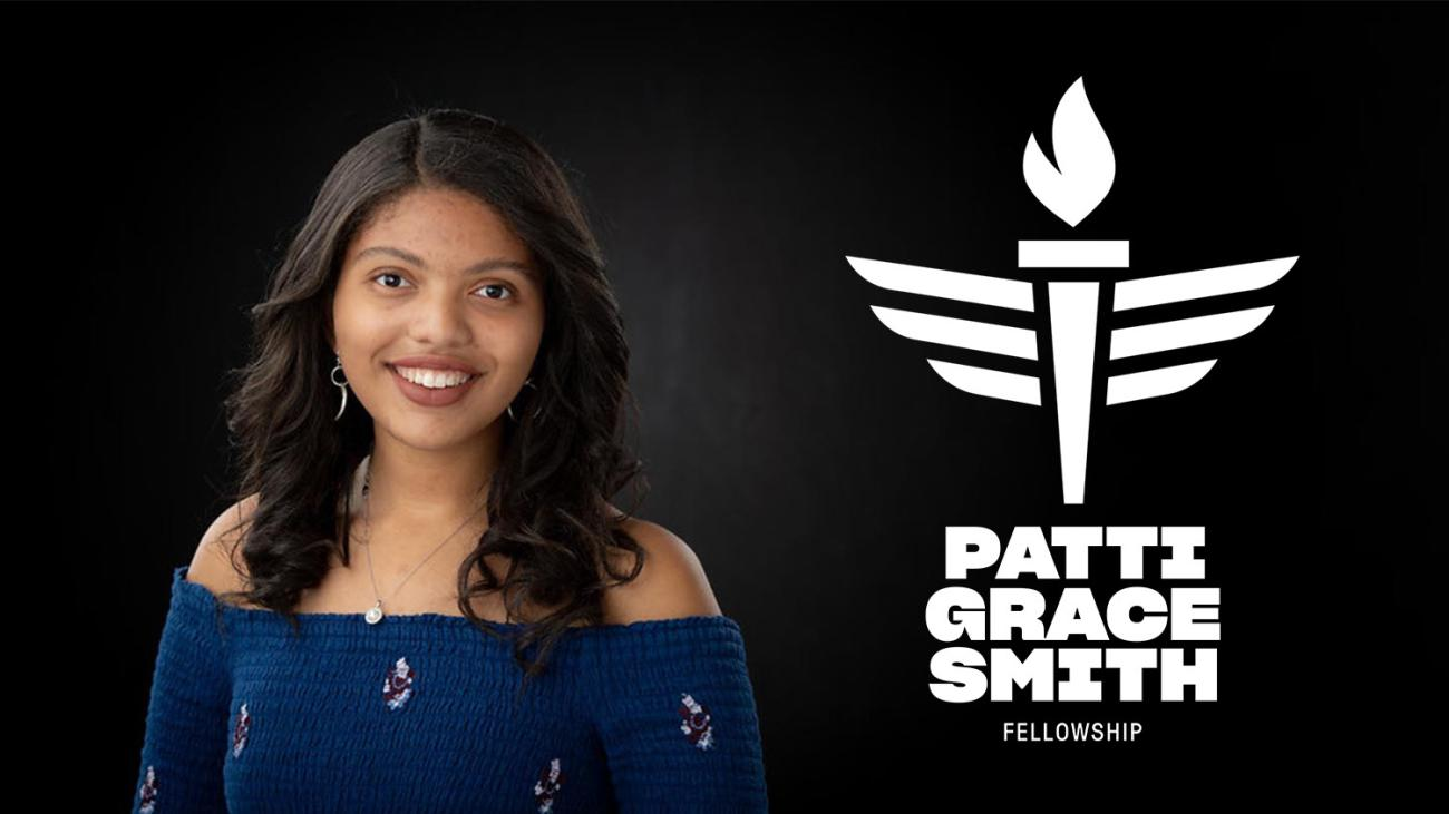 Headshot of Anaelle Roc and text that reads Patti Grace Smith Fellowship