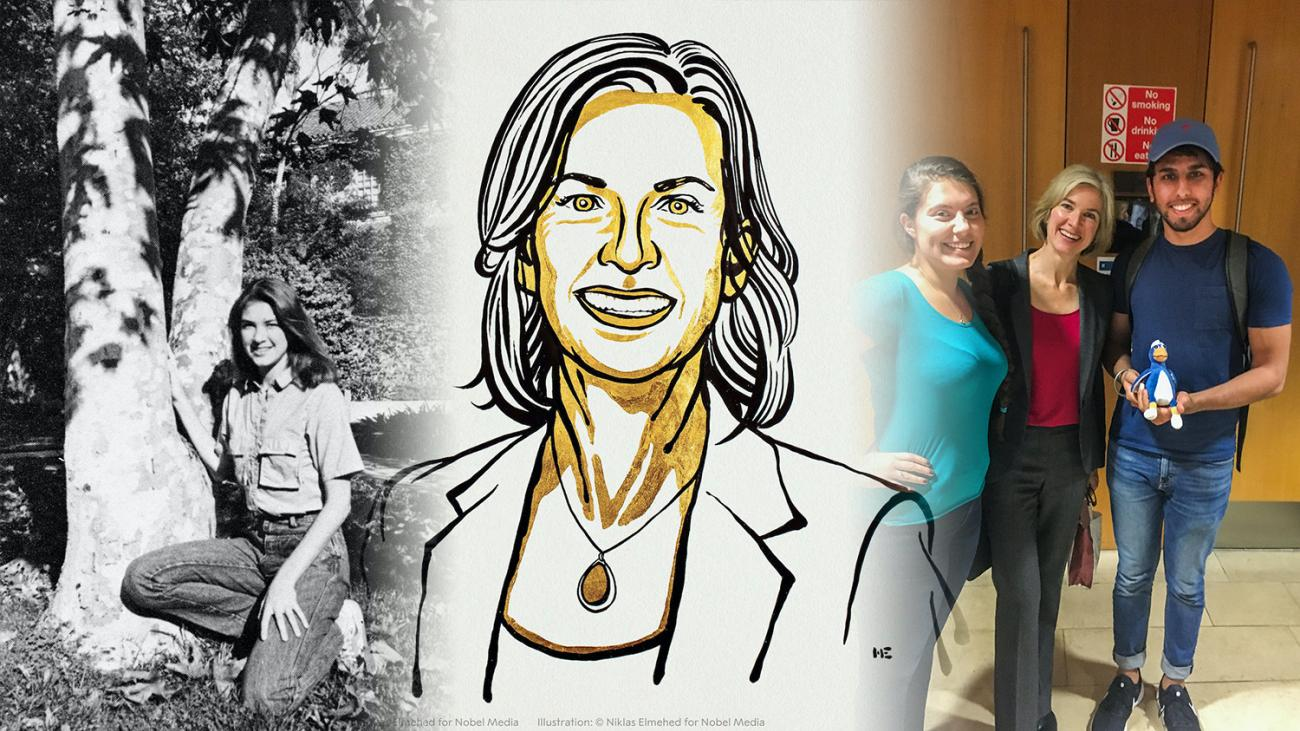 Jennifer Doudna '85 as student, in Nobel illustration, and flanked by Giselle De La Torre Pinedo '19 and Gurkaran Singh '19