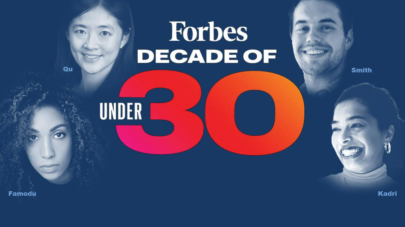 Photo illustration of honorees with Forbes 30 Under 30 logo