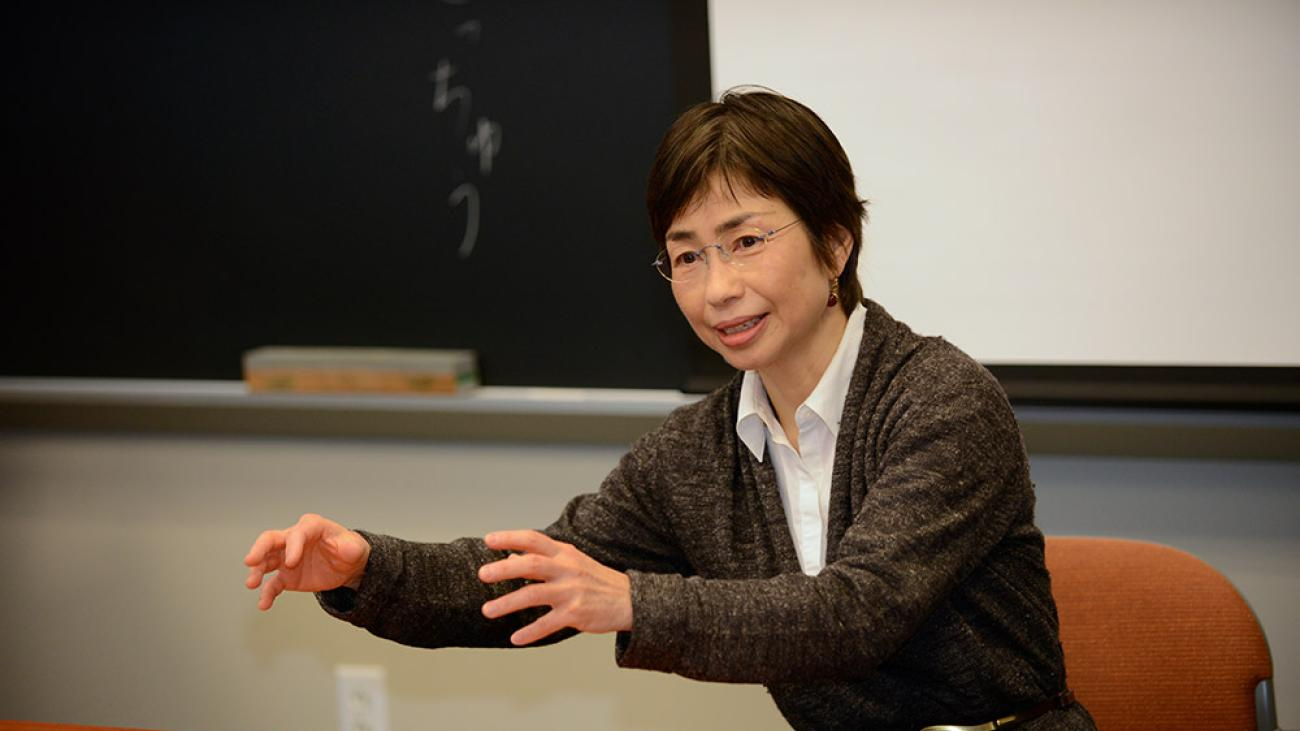 In class with Professor of Japanese Kyoko Kurita