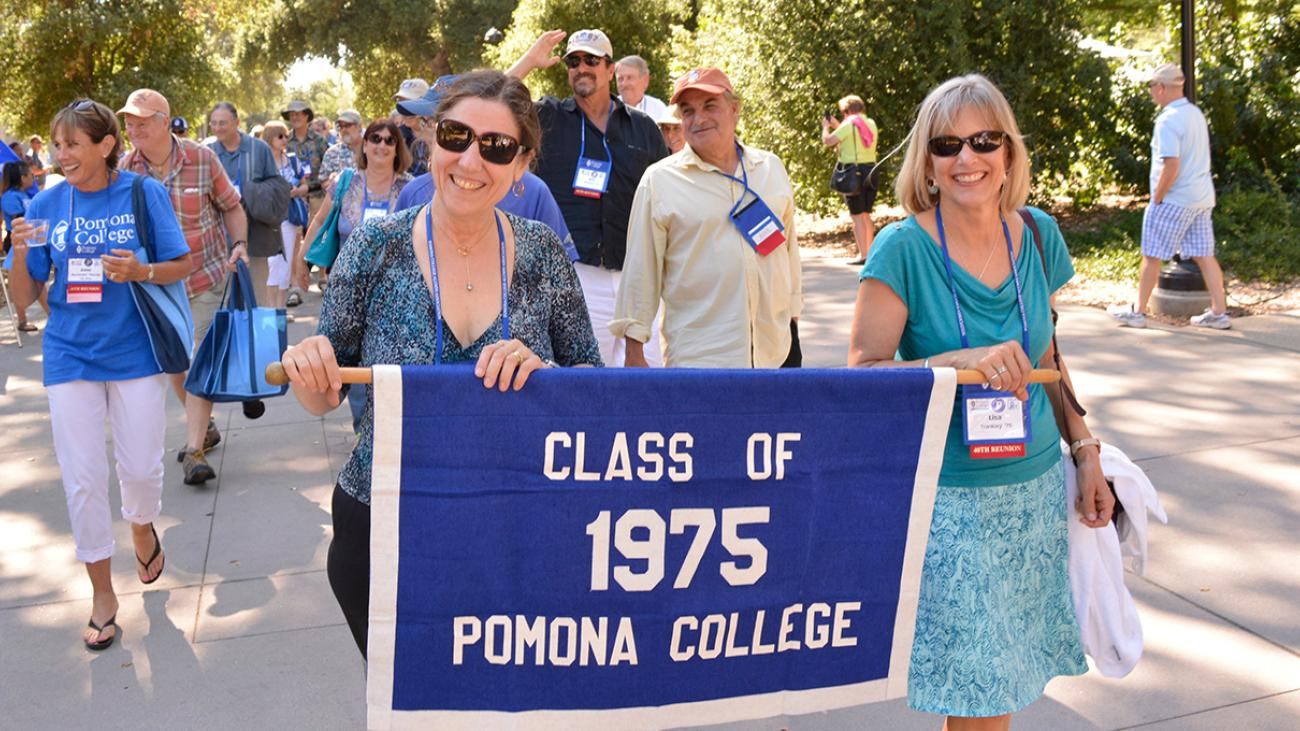 Alumni from the Class of 1975 at Pomona College in the Alumni Weekend parade of classes