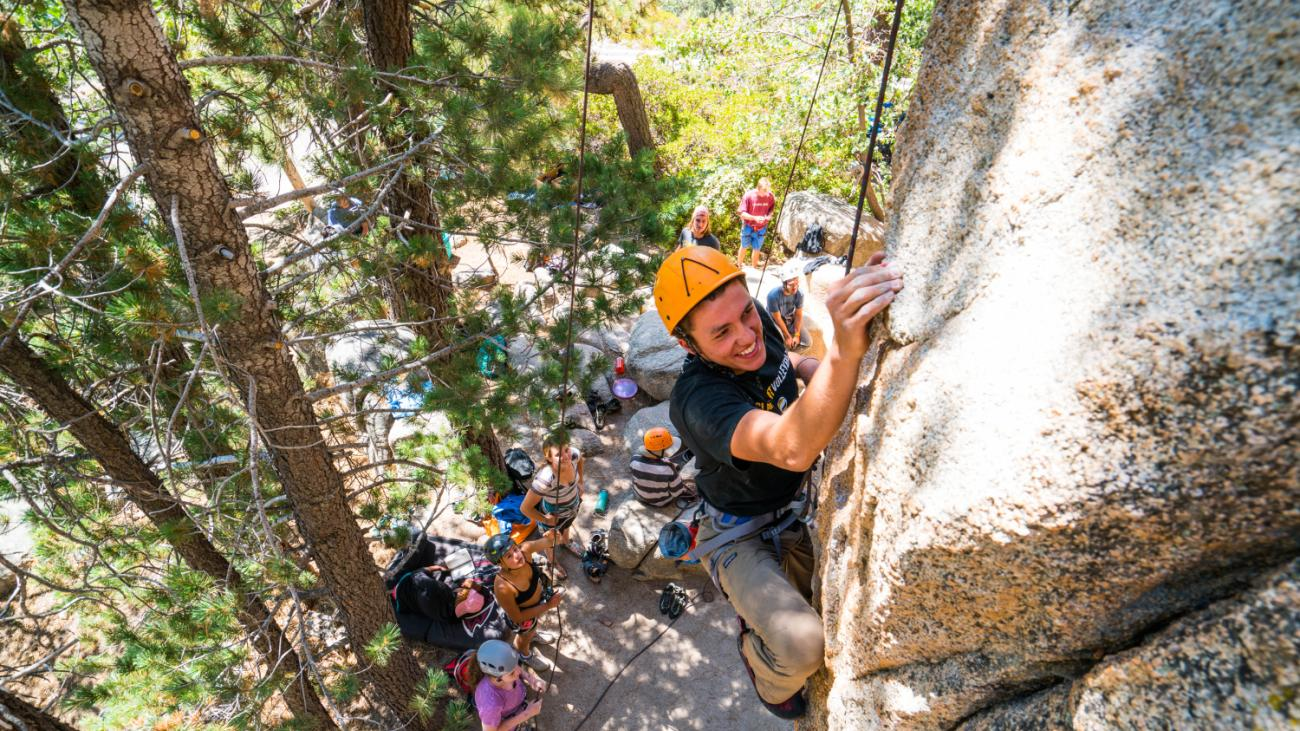 Go on a rock climbing escapade during Orientation Adventure.