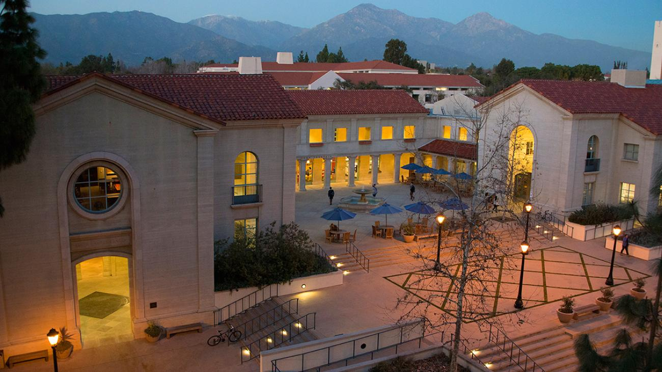 Smith Campus Center at Pomona College at night