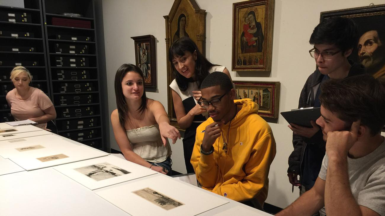 Pomona students looking at art