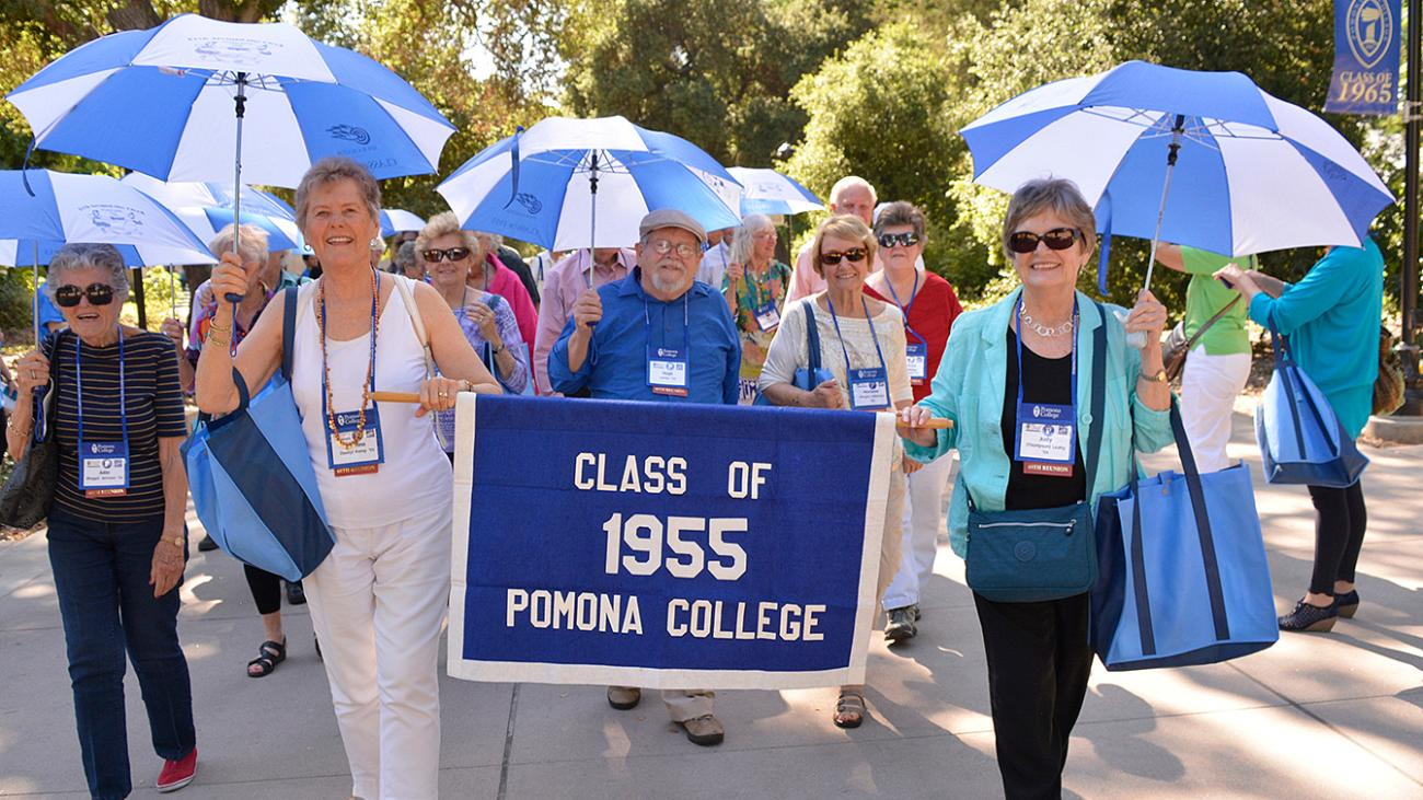 Class of 1955 marching in the parade of classes at Pomona College Alumni Weekend